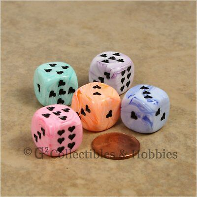 NEW 5 Ice Cream Swirl w/ Heart Pips Dice Set - 5 Colors RPG Game 16mm D6 Chessex