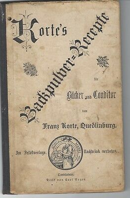 Old 1900 Korte Baking Powder German Cook Book Cooking Equipment Cake Flans Molds