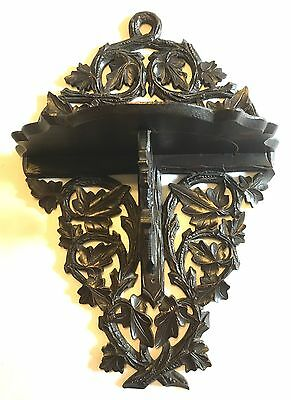 Carved Antique  Black Forest  Clock / Folding Bracket / Clock Bracket