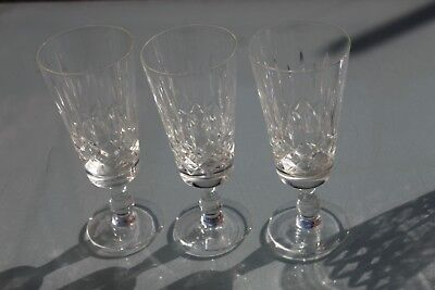 3 Vintage Edinburgh Crystal Cut Glass Champagne Flutes Glasses Very Good Cond