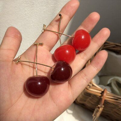 Cute Sweet Red Cherry Fruit Ear Stud Earrings Women Girl Party Jewellery Gift