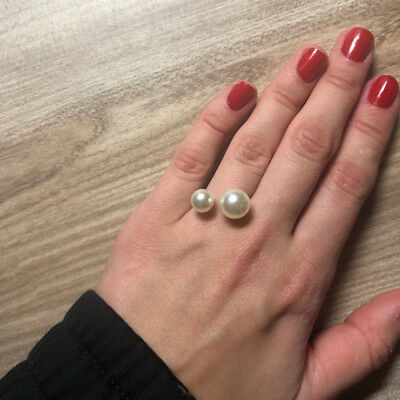 Trendy Lady Imitation Pearl Size Adjustable Opening Ring Accessories Trinket CB
