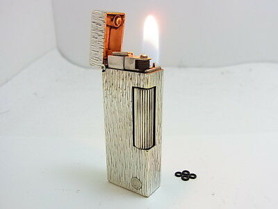 DUNHILL Rollagas Lighter d Mark Silver Gas leaks W/4p O-rings Auth Swiss