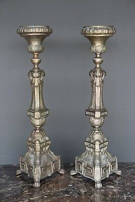 Tall antique matching silvered antique Renaissance ecclesiastical candlesticks