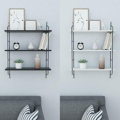 3 Tier Floating Shelf Home Bookcase Rack Wall Office Storage Unit Black White