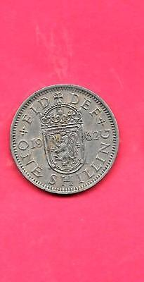 GREAT BRITAIN GB UK KM905 1962 VF-VERY FINE-NICE OLD used VINTAGE SHILLING COIN
