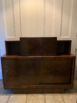 Antique vintage Art Deco cocktail cabinet/sideboard/console walnut/walnut veneer