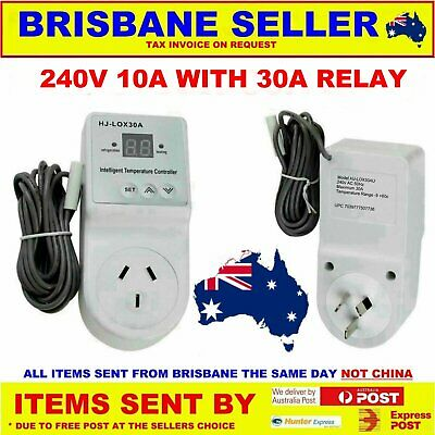 Fridge Plug In Thermostat 240V Digital Controller 6000W -9 To + 38 30A Relay