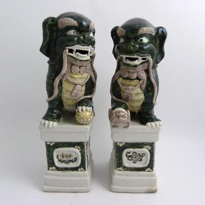 Large Pair Of Chinese Famille Verte Porcelain Foo Dogs, 19Th Century