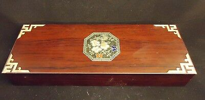 """Lovely Wooden Inlaid Mother of Pearl Box 8-3/4"""" by 3-1/4"""" Red Velvet Lined -o4"""