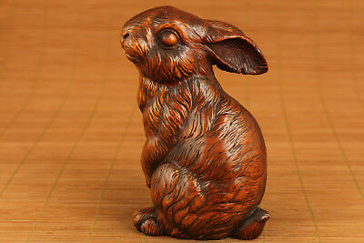 antique Old Boxwood wood Chinese Hand Carved rabbit Statue Hand piece Big gift