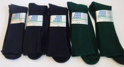 Vtg New Lot of 5 Pairs Mens Dress Socks Orlon Nylon Navy Blue & Green Size 10-13