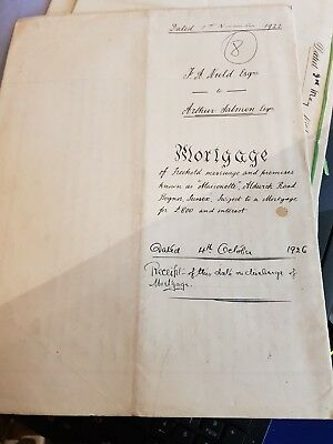 Hand written Mortgage dated 1st November 1922 for land in West Sussex