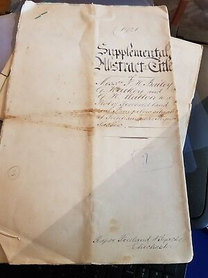 Hand written Mortgage dated 3rd May 1926 for land in West Sussex