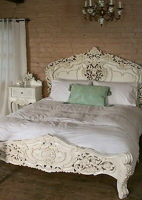 """Rococo 4'6"""" Double Size French Style Louis Solid Mahogany Antique White Bed  New"""