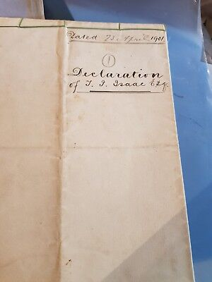 Hand written Declaration dated 23rd April 1901 for land in West Sussex