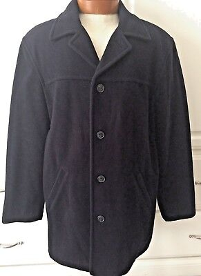 J Crew Navy Blue Mens M Wool Blend Coat Overcoat Quilted Lining Thinsulate
