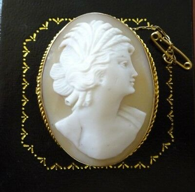 ANTIQUE VICTORIAN 9ct GOLD LARGE CARVED SHELL CAMEO with SAFETY CHAIN