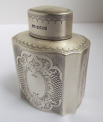 Beautiful Decorative English Antique 1904 Solid Sterling Silver Tea Caddy Box