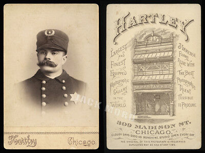 Excellent Antique 1880s Cabinet Photo Chicago Police Policeman by Edward Hartley