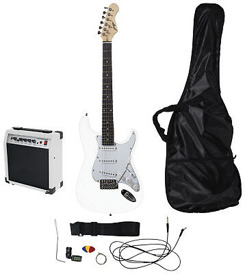 Johnny Brook Standard Guitar Kit with 20W Colour Coded Combo Amplifier, White