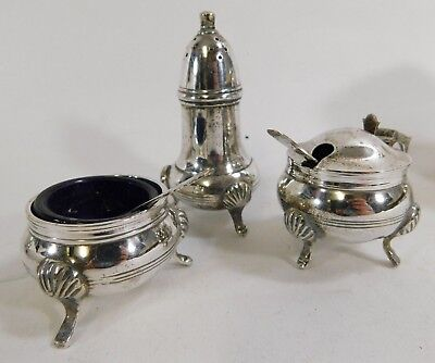 Vintage Silver Plated 3 Piece Cruet Set w/ Spoons and Blue Glass Liners