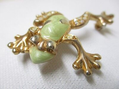 Vintage Gold Plated Jewelry Lapel Pin Clasp Frog Rhinestones