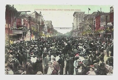 New Orleans LA - The Carnival Crowd on Canal Street ca.1910 Louisiana Postcard