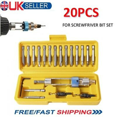 20x Multi-Functional High Speed Countersink Swap Drill Bits Tool Set Screwdriver