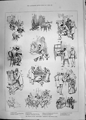 Antique Print 1885 Inventories Humours Musical Jury Banjo Piano Double-Bass