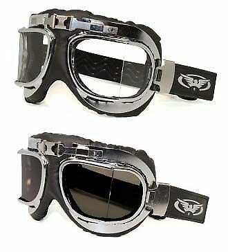 Anti Fog Ace Classic Aviator Design padded Motorcycle Goggles Cafe Racer ton up