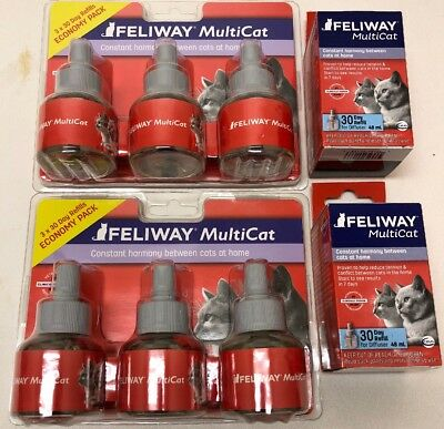 NEW! Ceva Feliway Multicat 30 Day Refills for Cats 8 Refills for Diffuser