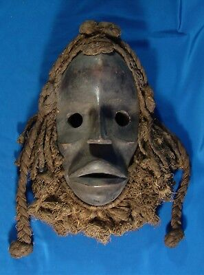 """Carved African / Tribal Mask With Hair And Beard Made Of Rope; 12"""" Tall"""