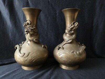 Chinese Vase Pair  Oriental Chinese Ancient Bronze Brass Dragon fully Stamped