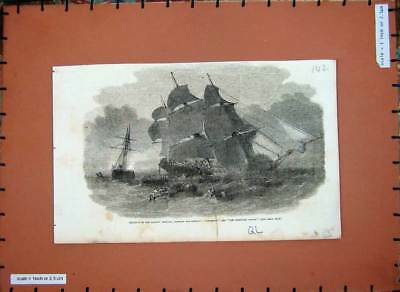 Old Antique Print C1860 English Channel Ship Mangerton Josephine Willis 19th