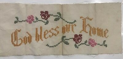 """Vintage needlepoint cross Stitch God Bless Our Home 19 1/2 X 8"""""""