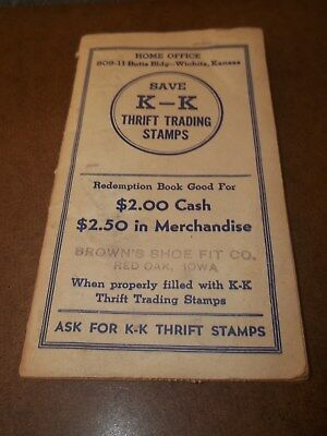 K-K Thrift Trading Stamps Book Brown's Shoe Fit Co. Red Oak Iowa