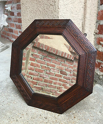 Antique English Carved Oak Octagon Frame Beveled Wall Mirror Greek Key Jacobean