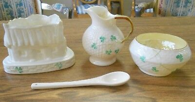Belleek Green Mark Creamer Sugar Cottage Votive Holder Blue Mark Shamrock Spoon