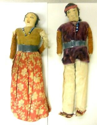 Vintage Pair Of Real Skookum Native American Dolls With Metal Belts Size 8 inch.