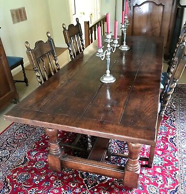 Stunning antique solid oak refectory dining table