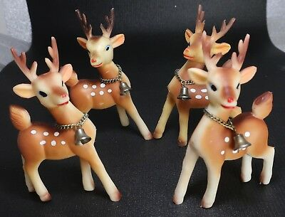 4 Vintage Japan Soft Rubber Rudolph Reindeer Xmas Posable Head Figures w Bells