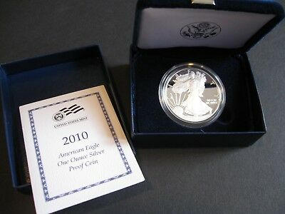 2010-W  American Silver Eagle Proof in US Mint Case and Box with COA