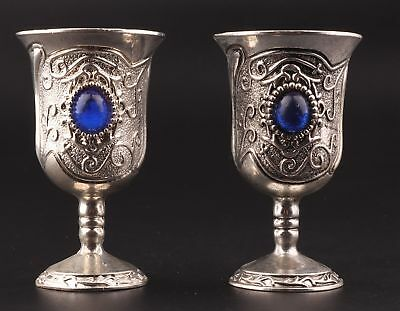 2 Rare Tibetan Silver Goblets Cup Decorated Mosaic Sapphire Collection Gift