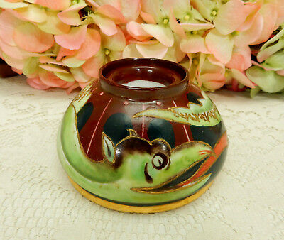 Beautiful Antique Limoges Porcelain Inkwell ~ Hand Painted ~ Dragon ~ Gold