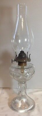 Antique 1890's Victorian Oil Lamp Eyebrow Pattern With Burner Chimney