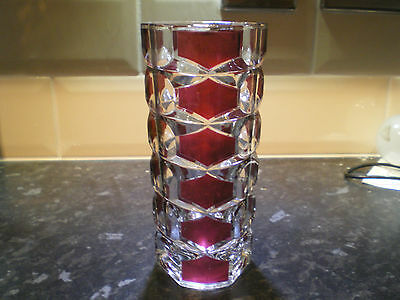 Lovely French Vintage/Retro J. G. Durand Clear & Ruby Geometric Glass Vase