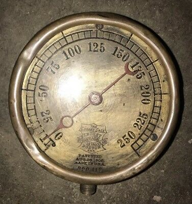 "Brass Crosby Gauge and Valve Co. Steam Pressure Steampunk 6"" Pat Aug 28 1906"