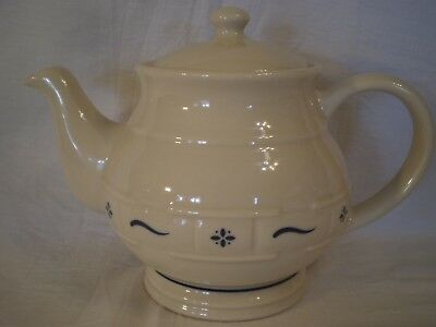 LONGABERGER POTTERY BLUE WOVEN TRADITIONS 4-CUP TEAPOT w/ ROUND LID