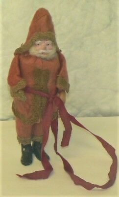 "Vintage ANTIQUE Red Belsnickle SANTA FIGURINE / ORNAMENT - 5.75"" Tall"